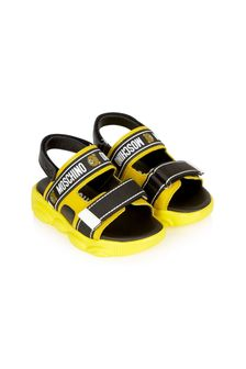 Moschino Kids Boys Yellow Leather Sandals