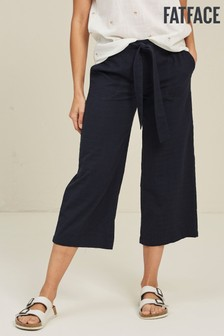 FatFace Blue Exmouth Self Check Crop Trousers