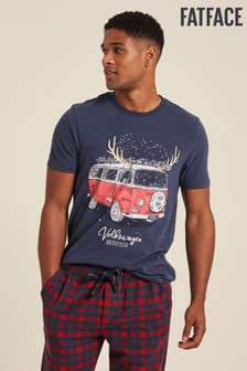 FatFace Blue VW Xmas Camper Graphic T-Shirt