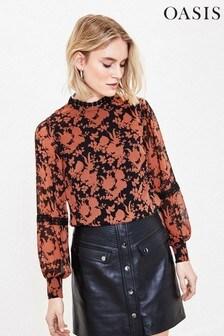 Oasis Black Ginger Shadow Floral Blouse