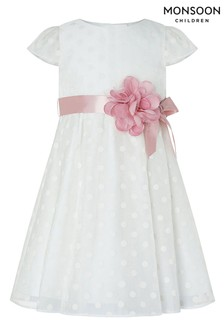 Monsoon White Baby Ingrid Spot Dress