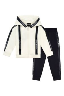 Boys White Branded Tracksuit