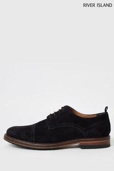 River Island Navy Suede Toecap Derby Shoes