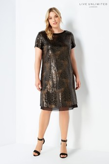 Live Unlimited Black Overlayer Sequin Dress