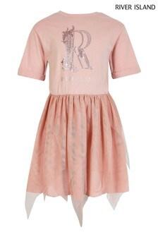 River Island Pink Medium Tulle Hem Dress