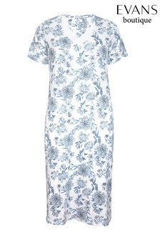 Evans Blue Floral Print Long Night Dress