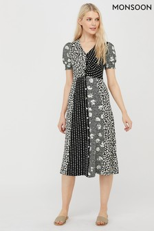 Monsoon Black Tana Patch Print Dress
