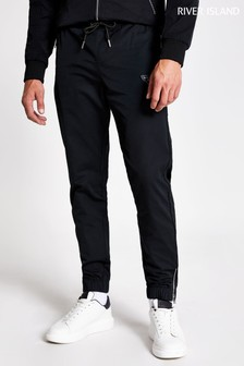 River Island Black Nylon Metal Branded Joggers
