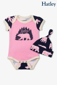 Hatley Pink Baby Bear Bodysuit With Hat