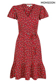 Monsoon Red Printed Short Jersey Dress