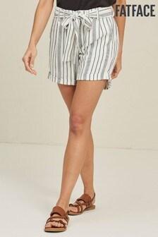 FatFace White Lily Linen Blend Stripe Shorts
