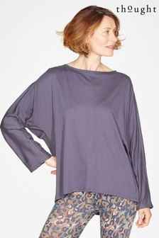 Thought Blue Elizabeth Jersey Woven Top