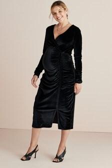 Maternity Velvet Midi Dress