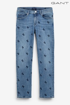 GANT Blue All Over Embroidered Cropped Jeans