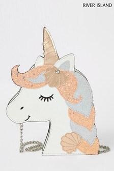 River Island White Unicorn Head Crossbody Bag