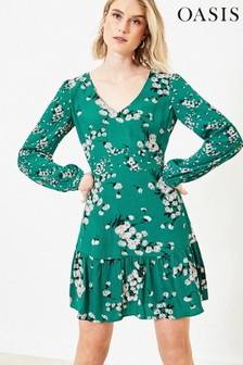 Oasis Green Dandelion Skater Dress