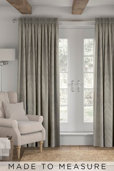 Linear Leaf Grey Made To Measure Curtains