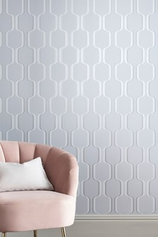 Paste The Wall Glitter Trellis Wallpaper