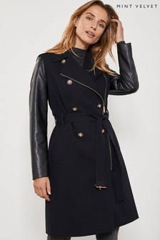Mint Velvet Black Military Trench Coat