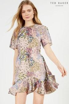 Ted Baker Lalu Urban Printed Fluted Hem Mini Dress