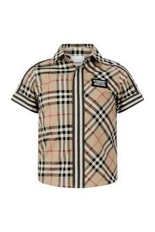 Boys Beige Check Cotton Short Sleeve Shirt