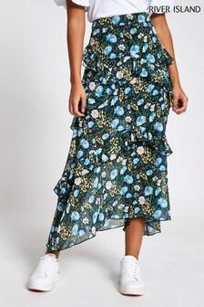River Island Black Floral Chiffon Frill Maxi Skirt