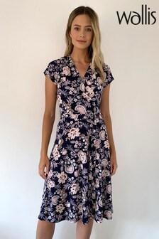 Wallis Petite Pretty Paisley Wrap Fit & Flare Dress
