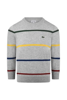 Boys Grey Striped Sweatshirt