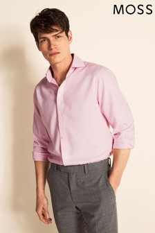 Moss 1851 Tailored Fit Pink Single Cuff Arrow Weave Zero Iron Shirt