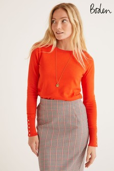 Boden Orange Eldon Cotton Jumper