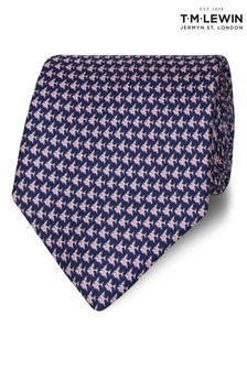 T.M. Lewin Made In Italy Wide Navy And Pink Fish Silk Tie