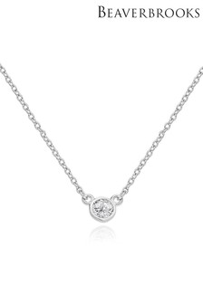 Beaverbrooks Sterling Silver Cubic Zirconia Necklace
