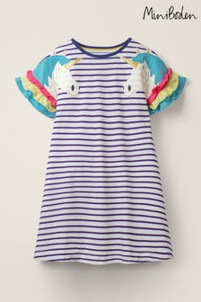 Mini Boden Blue Flutter Sleeve Jersey Dress