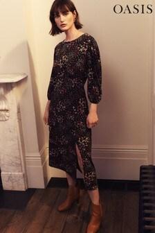 Черное платье с комбинированным цветочным принтом Oasis