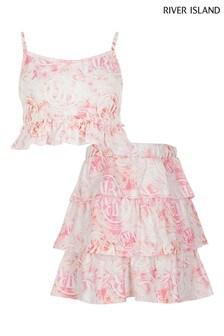 River Island Pink Light Cami And Rara Skirt Set