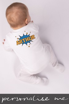 Personalised Comic Book Name Sleepsuit