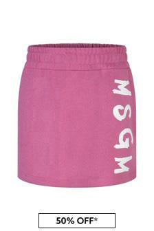 Girls Pink Cotton Logo Skirt