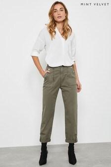 Mint Velvet Green Khaki Utility Popper Chino Trousers