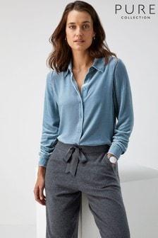 Pure Collection Blue Silk Velvet Shirt