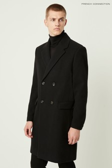 French Connection Black Formal Melton Double Breasted Coat