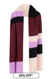 Girls Pink Striped Wool Scarf