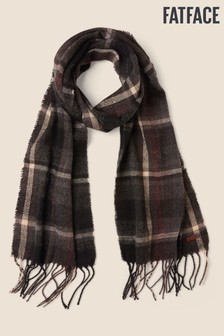 FatFace Grey Charcoal Check Scarf