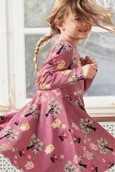 Polarn O. Pyret Pink Organic Cotton Bear Print Dress