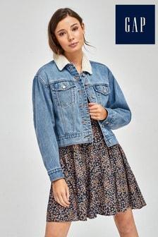 Gap Blue Fleece Collar Denim Jacket