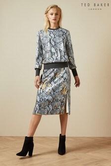 Ted Baker Grey 2 Way Snake Sequin Midi Skirt