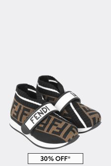 Kids Black/Brown Logo Trainers