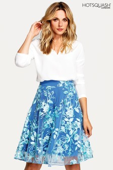 HotSquash Blue Flared Embroidered Skirt