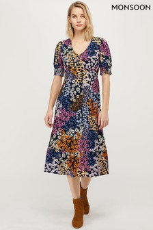 Monsoon Navy Belle Print Midi Dress