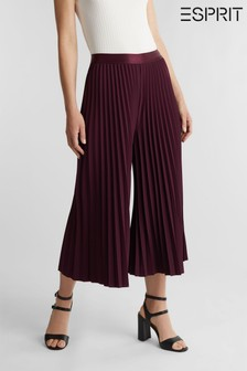 Esprit Red Cropped Plissee Woven Culottes