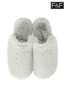 F&F Green Faux Fur Mule Seafoam Slippers
